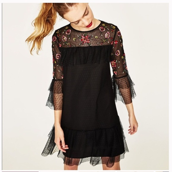 60d251c6 Zara Floral beaded Embroidered Boho Tulle Dress. M_5be50635c2e9fe75d1773b85